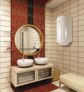 Пример дизайнерского решения по внедрению водонагревателя в ванную комнату