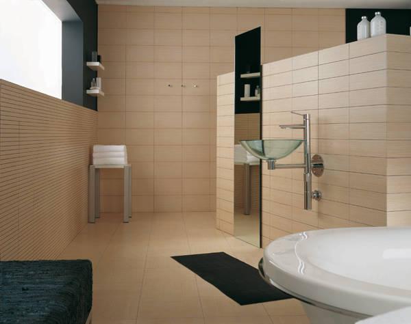 Пример дизайна ванной комнаты с использованием плитки из гипса