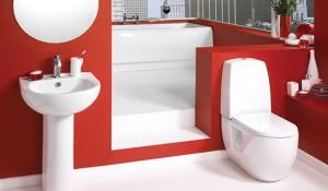 Дизайнерское решение ванной комнаты в красном цвете с использованием мини раковины
