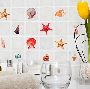 Дизайн наклеек в ванную комнату в стиле подводного мира