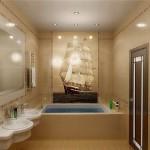 Дизайн ванной с панно 4