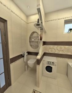 Пример ванной с перегородкой