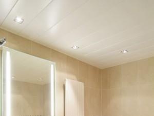 Установленный потолок из пластика в ванной комнате