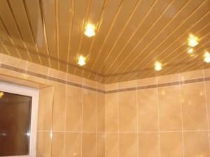 Установленный реечный потолок, из алюминия в ванной