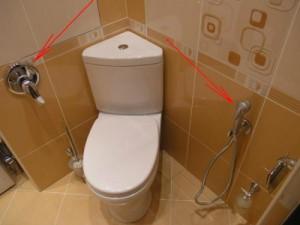 Пример туалета с гигиеническим душем, где смеситель находится отдельно от самого душа