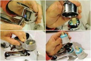 Фотография быстрой замены картриджа однорычажного смесителя, как правило, если кран протекает, то причина именно в износе картриджа