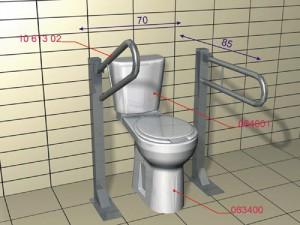 Схема стандартных размеров для крепления поручней