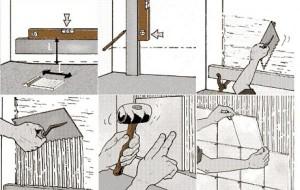 Схема из шести шагов, где показано как укладывать плитку