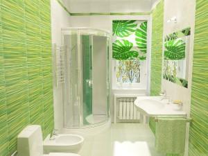 Фото дизайна туалета совмещенного с душем в зеленых цветах