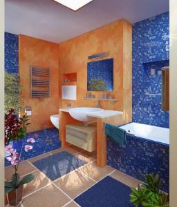Фото интерьера совмещенной ванной комнаты в морском стиле