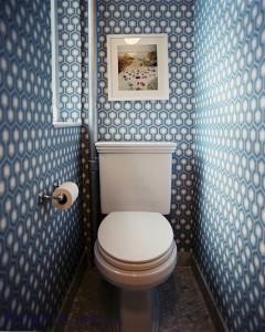 Фото дизайна узкого туалета в синих цветах