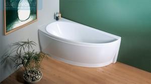 Дизайн ванной комнаты с изящной ванной из акрила