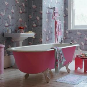 Дизайн ванной комнаты с использование обоев