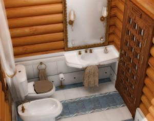Дизайн ванной комнаты деревянного дома
