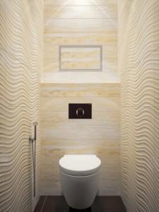 Фото интерьера туалета в светлых, теплых тонах