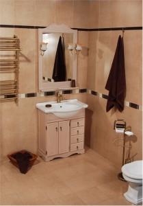 Фотография мебели для ванной с мойдодыром и зеркалом