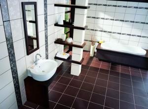 Плитка из керамогранита в интерьере ванной