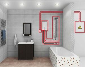 Условная схема подключения водонагревателя к электричеству