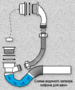 Фото схемы водяного затвора сифона
