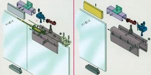 Схема установки креплений на стеклянные двери