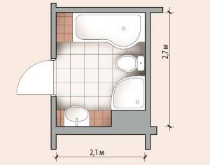 Фото плана санузла размером 2,1 на 2,7 метров