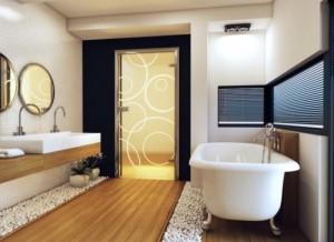 Дизайн ванной комнаты, в котором использована дверь из стекла