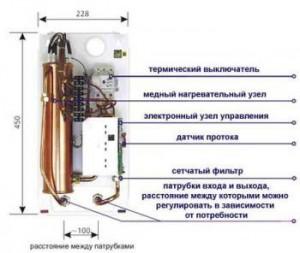Устройство электрического проточного водонагревателя