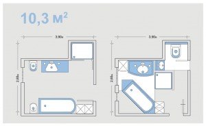 Варианты планировки ванной комнаты средних размеров