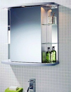 Фото зеркала с подсветкой и полочками