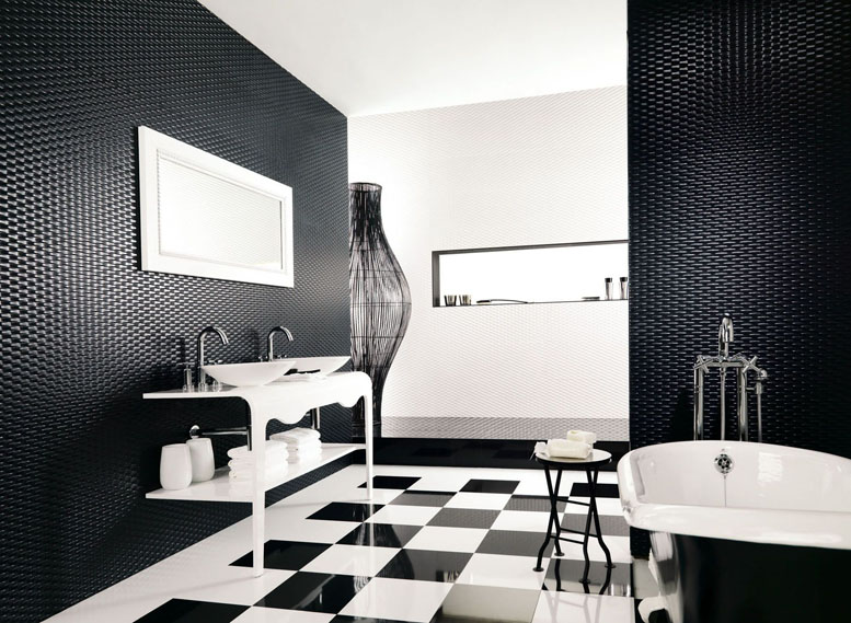Ванная комната в черно-белом цвете дизайн фото