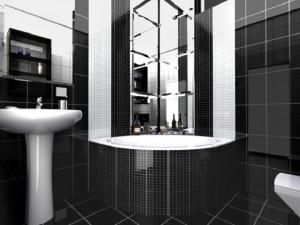 Фотография ванной комнаты в черно-белом стиле