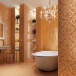 Дизайн плитки в золотистых тонах