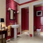 Дизайн плитки в ванной в бордовых тонах