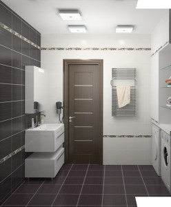 Пример отличного дизайнерского решения в ванной небольшого размера