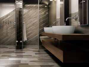 Главным достоинством плитки является возможность реализовать самые смелые дизайнерские идеи в ванной