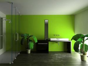 Пример использования краски в отделке ванной