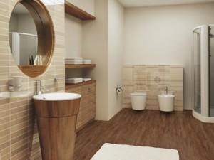 Фото использования линолеума в качестве напольного покрытия ванной комнаты