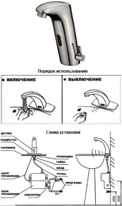 Схема установки и устройства сенсорного крана