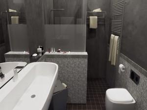 Пример дизайна ванной комнаты с использованием оттенков серого цвета