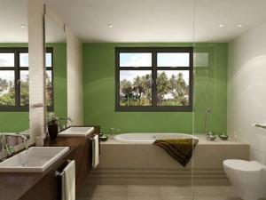 Фото ванной комнаты, где установлено окно