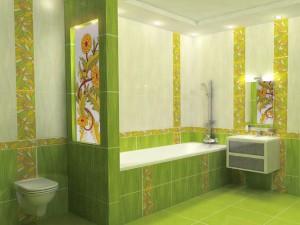 Дизайн плитки в зеленом цвете