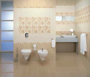 Фото бежевой плитки в ванной комнате