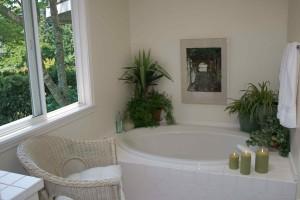 Фото цветов в ванной комнате с окном