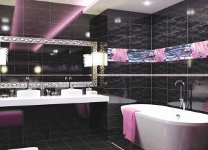 Фото дизайна ванной с модной плиткой