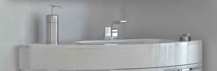 Угловая раковина для ванной с тумбой