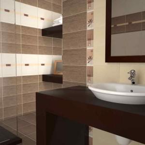 Коричневая плитка в ванной
