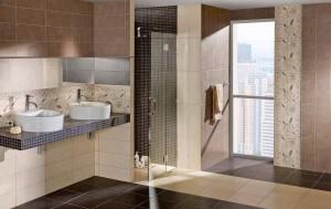 Фото коричневой плитки в ванной комнате