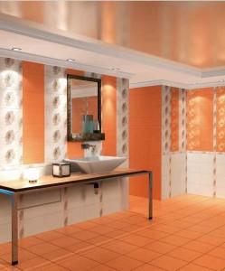 Оранжевая плитка в ванной