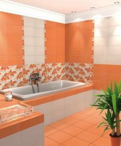Фото оранжевой плитки в ванной комнате