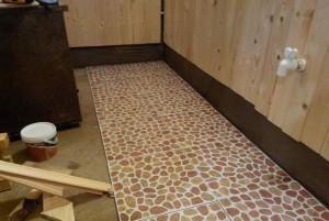 Фото укладки плитки в бане
